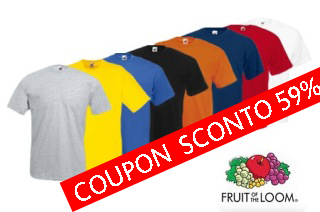 5 t-shirt Fruit of The Lomm 19.90 euro (sconto 59%)