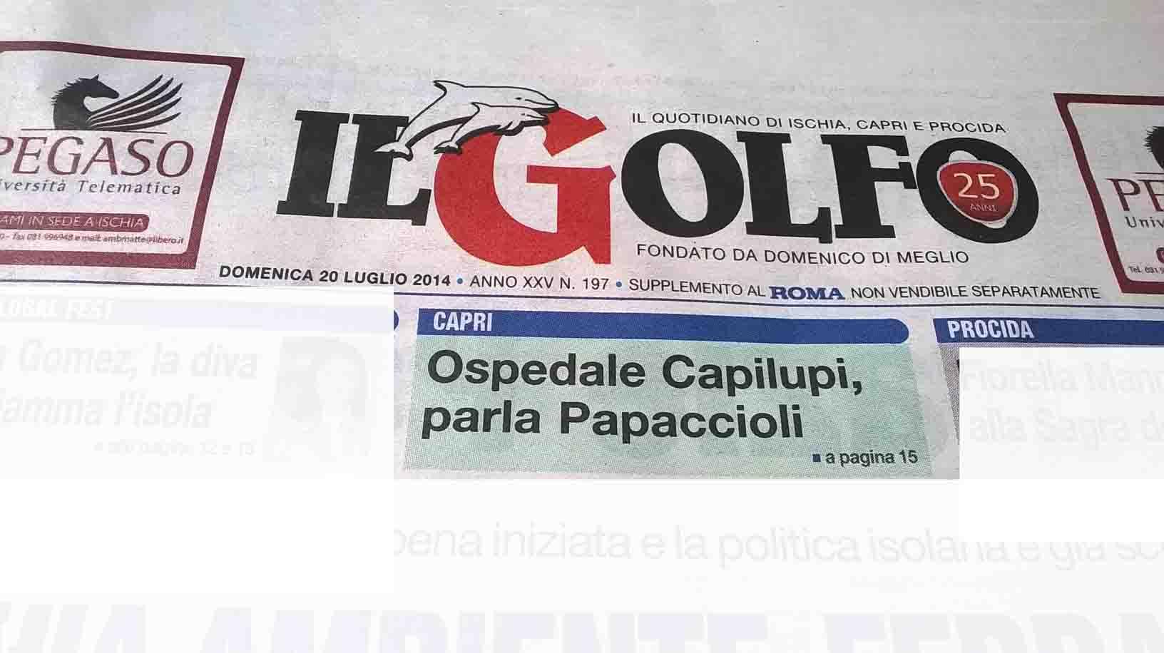 """Anteprima del quotidiano """"il golfo"""" in edicola domenica 20 Luglio"""