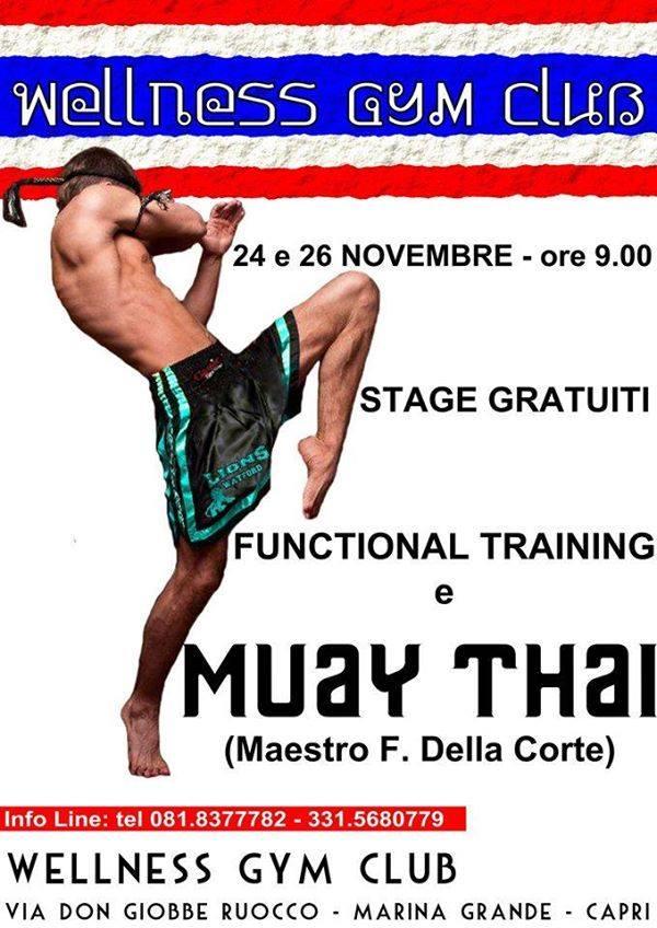 Stage gratuiti di Muay Thai, 24 e 26 novembre, palestra  Wellnes Gym Club a Marina Grande
