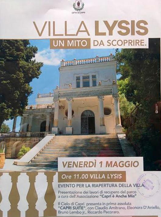 Riapertura di Villa Lysis, Venerdì 1 Maggio Eventi e Manifestazioni  nella dimora del Conte Fersen
