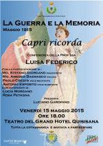 """Capri Ricorda """"La Guerra e la Memoria Maggio 1915"""" conferenza sul Centenario dalla prima Guerra Mondiale"""