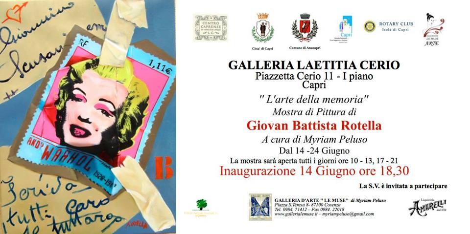 """Mostre a Capri: """"L'arte della memoria"""" del  Maestro Giovan Battista Rotella"""