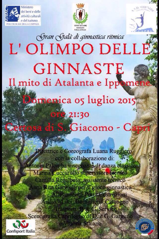"""Capri ospiterà il Gran Galà di Ginnastica Ritmica dedicato al mito di """"Atalanta e Ippomene"""""""