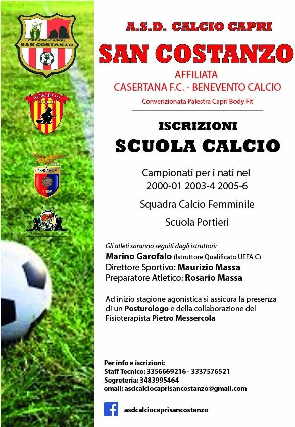 Sport a Capri: Open Day dell' A.S.D. San Costanzo con la presentazione del programma 2015/2016