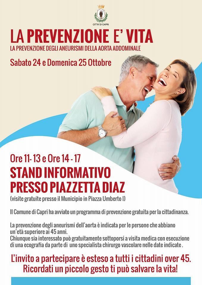 """Capri: """"La Prevenzione degli Aneurismi dell' Aorta Addominale"""" stand informativi e visite Gratuite"""