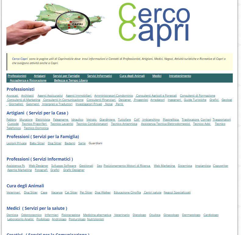 """""""Cerco Capri"""" parte con botto l'innovativa directory di Caprinotizie dedicata alle Attività di Capri"""