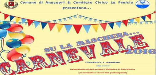 """Anacapri: """"Su la Maschera… Carnevale 2016"""" il programma completo"""