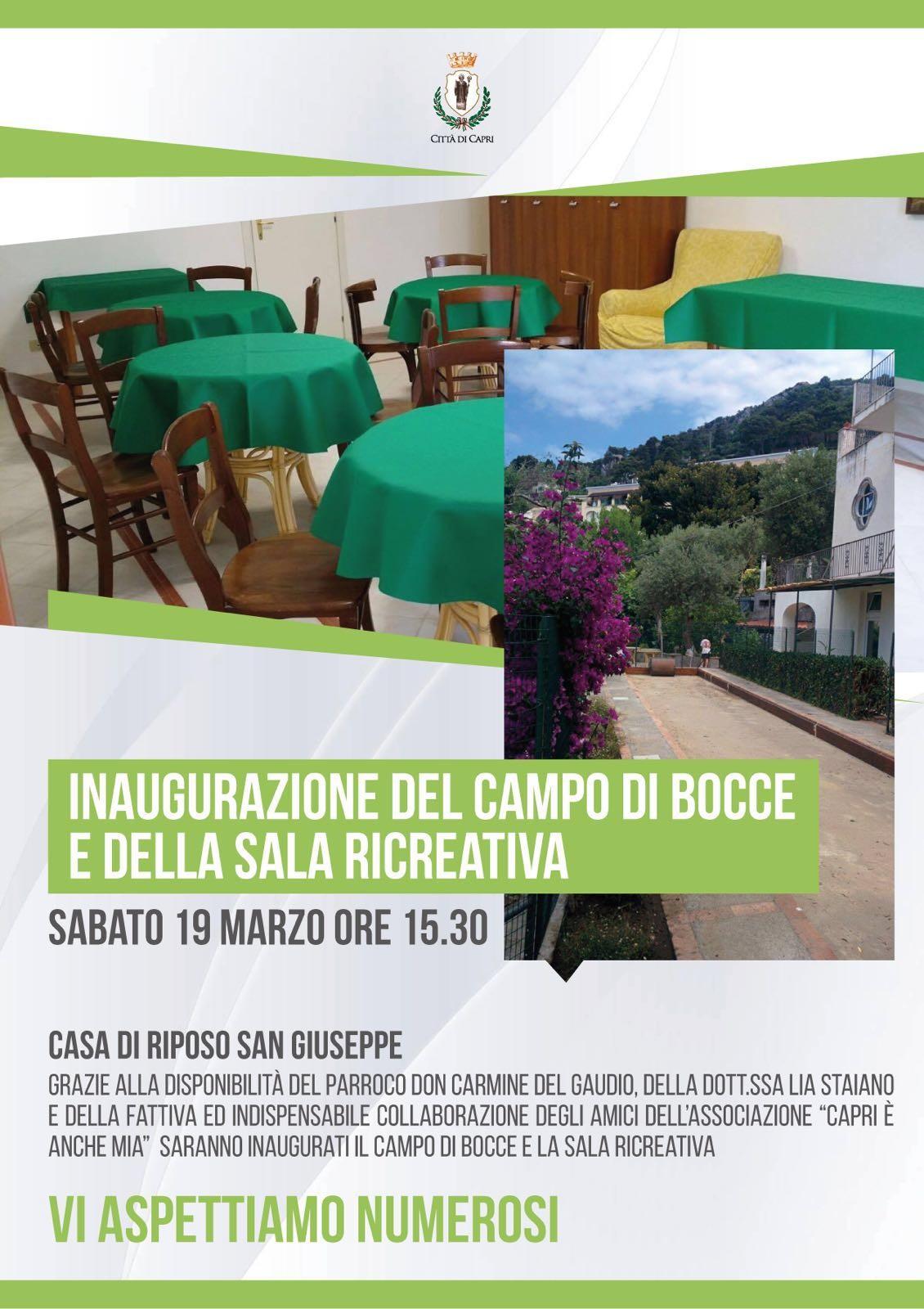 Capri: Sabato 19 Marzo l'inaugurazione del Campo di Bocce e della Sala Ricreativa