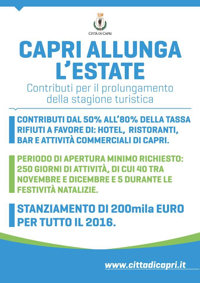 """""""CAPRI ALLUNGA L'ESTATE"""": 200MILA EURO DI INCENTIVI PER IL PROLUNGAMENTO DELLA STAGIONE TURISTICA"""