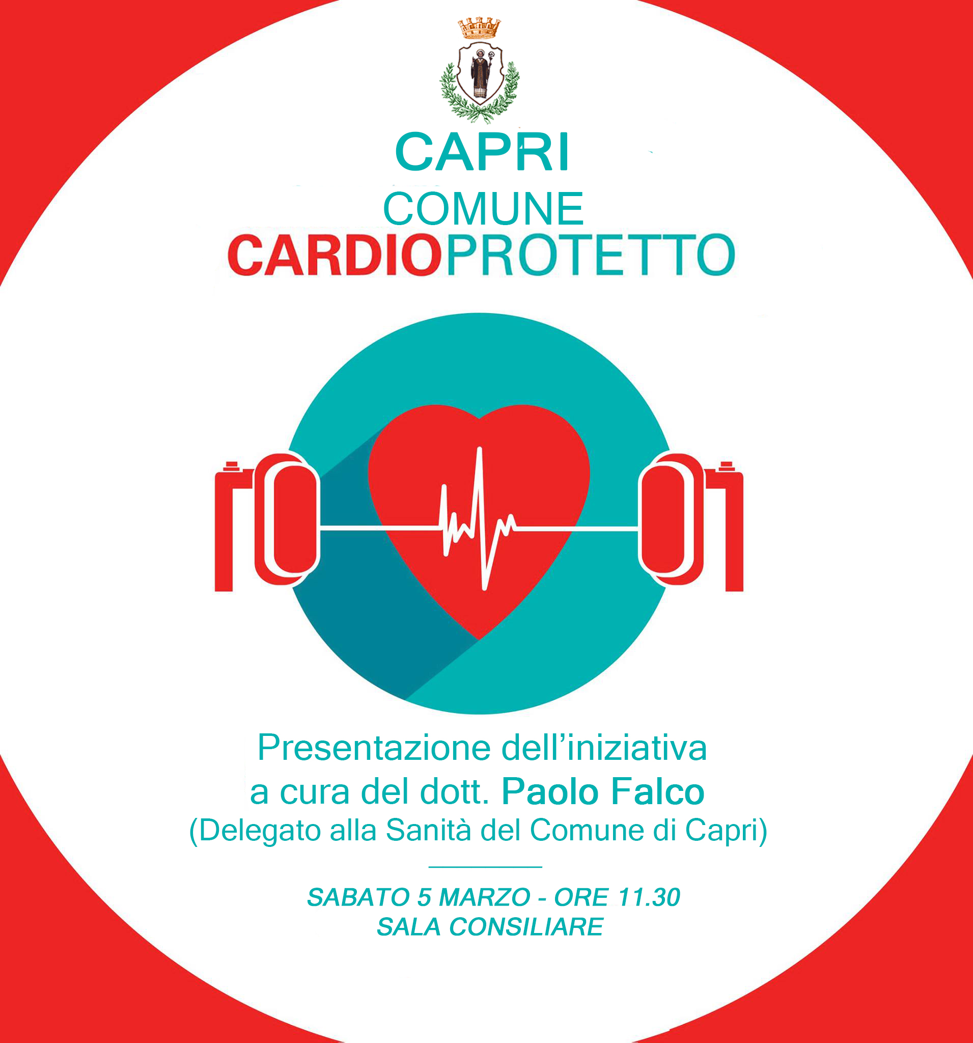 """"""" Capri un Comune Cardioprotetto """" Iniziativa a cura del delegato alla Sanità Dott. Paolo Falco"""