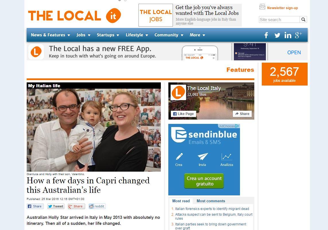 """Il Magazine The Local:  """" Bastano due giorni a Capri per cambiare la vita di una brillante Australiana"""