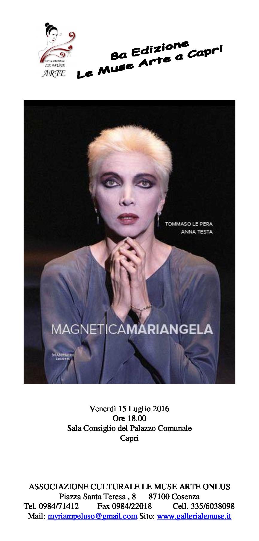 """VIII Edizione """" Le Muse Arte a Capri"""" Dal 15 al 25 Luglio 2016"""