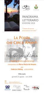 """Panorama Letterario a Villa Lysis """"""""La poesia che cerca amanti"""" Federico Garcia Lorca"""