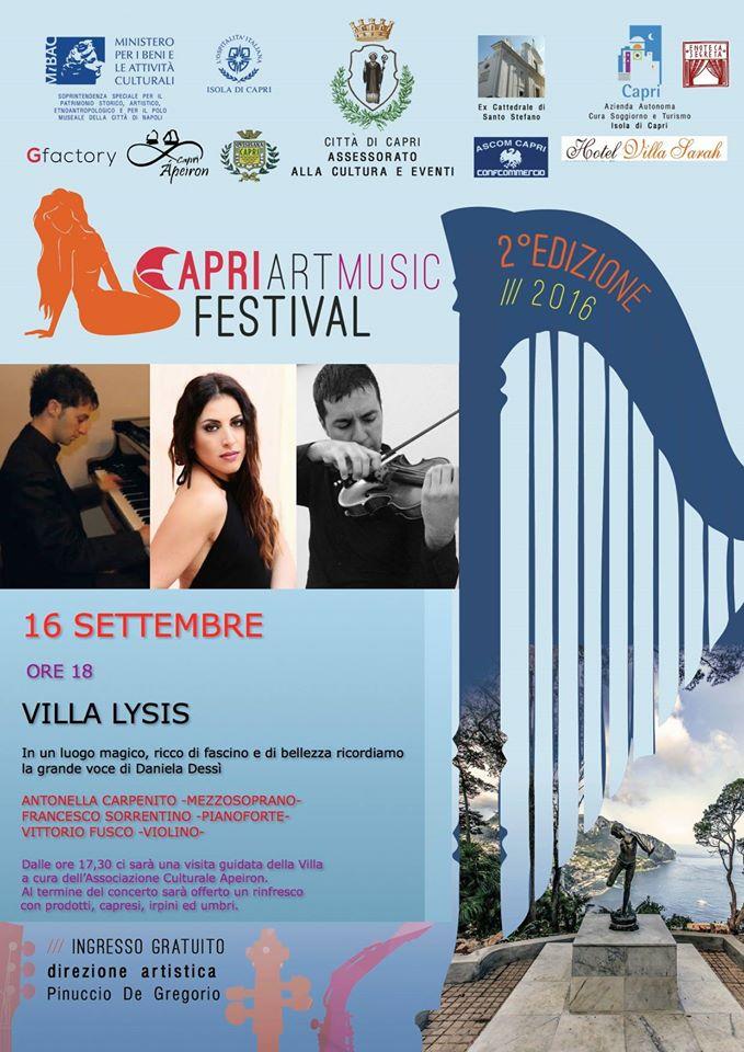 Il Capri Art Music Festival a Villa Lysis ricordando la voce di Daniela Dessì
