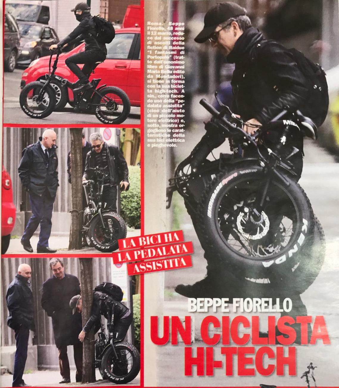"""Beppe Fiorello un ciclista Hi-Tech con la nuova bici elettrica Miele px-fat20 in edicola su """"Chi"""""""