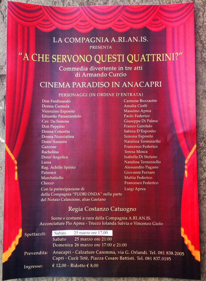 """In scena a Capri """"A che servono questi Quattrini"""" la commedia teatrale con la compagnia A.Ri.An.Is."""