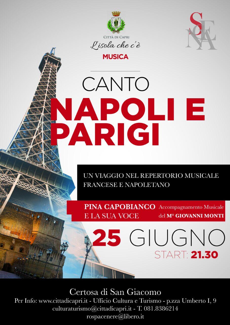 Napoli e Parigi unite a Capri in un Viaggio musicale con la voce di Pina Capobianco e la musica del M° Giovanni Monti