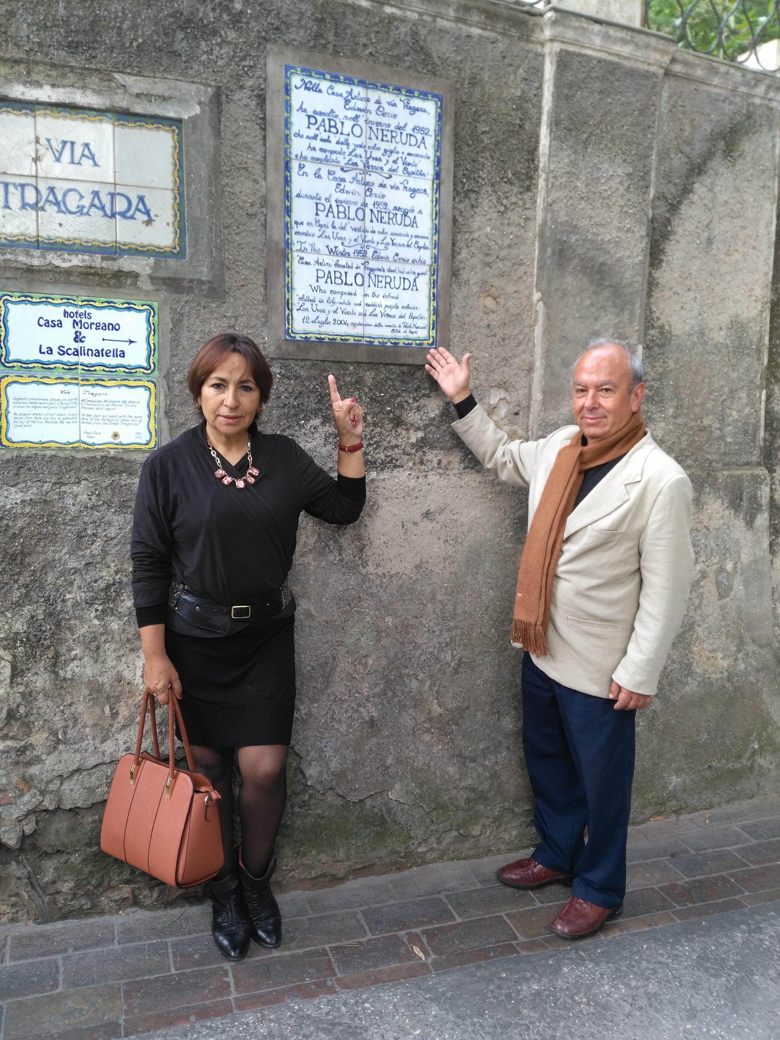Capri. Il nipote di Pablo Neruda si stupisce per l'accoglienza e dedica alla comunità caprese una poesia