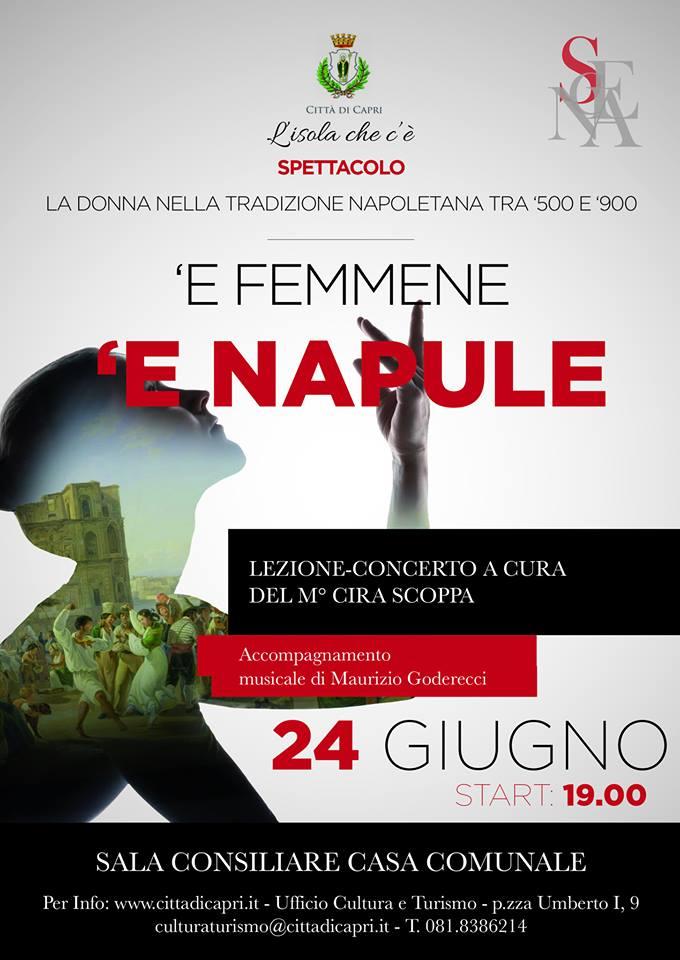 """Capri. Lezione Concerto 'E FEMMENE 'E NAPULE"""" con il M° Cira Scoppa e la musica di Maurizio Goderecci"""