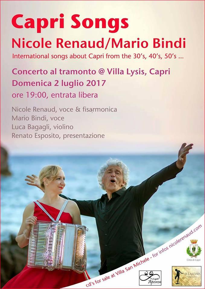 Capri. A Villa Lysis l'imperdibile concerto al tramonto di Nicole Renaud e Mario Bindi