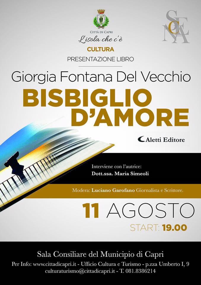 """Capri. """"Bisbiglio D'Amore la presentazione del Libro di Giorgia Fontana del Vecchio"""