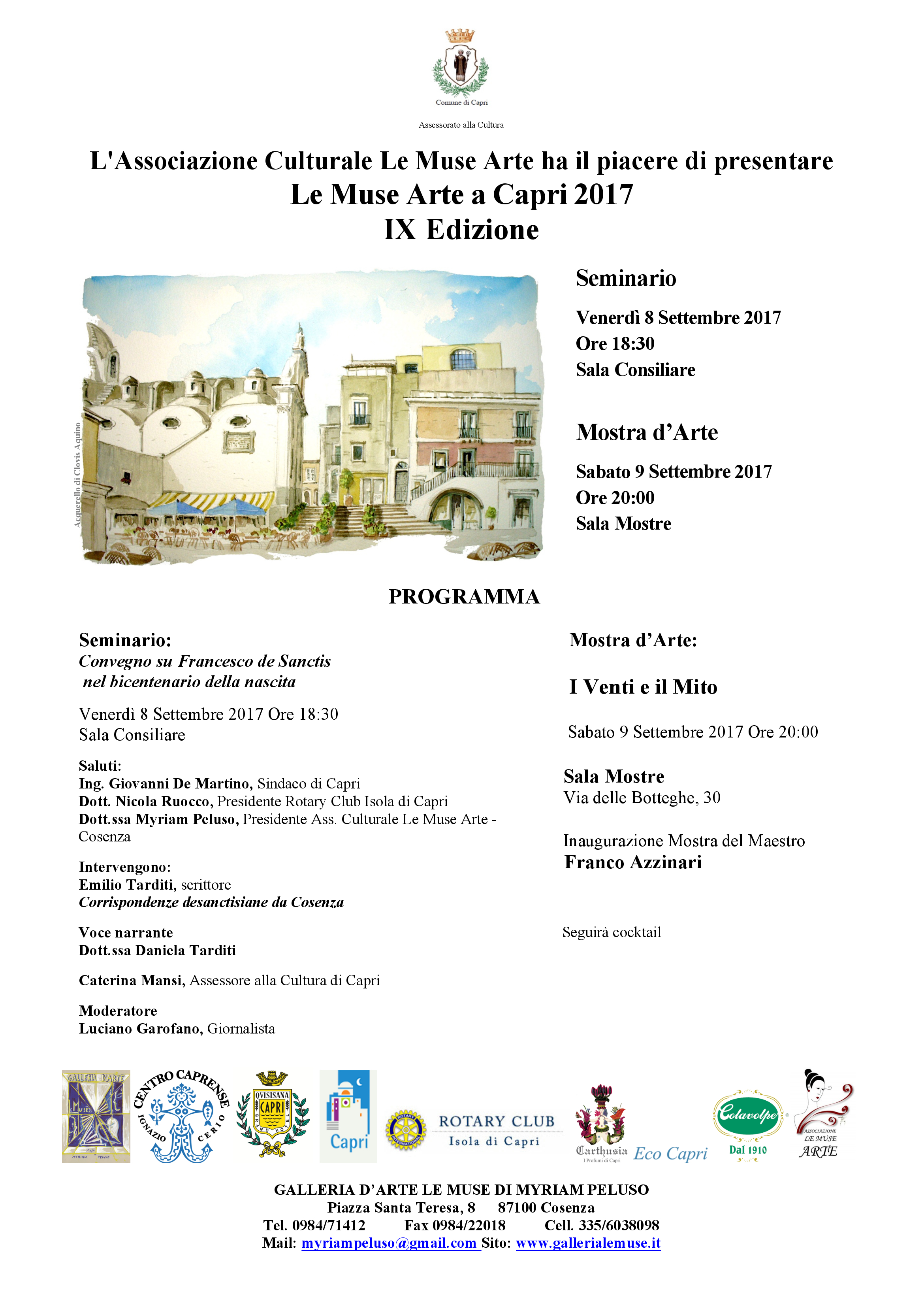 """"""" Le Muse Arte a Capri"""" il programma della IX Edizione  Dall'8 al 18 Settembre 2017"""