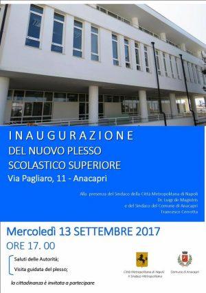 Mercoledì 13 Settembre l'inaugurazione del nuovo plesso scolastico per i ragazzi dell'isola di Capri