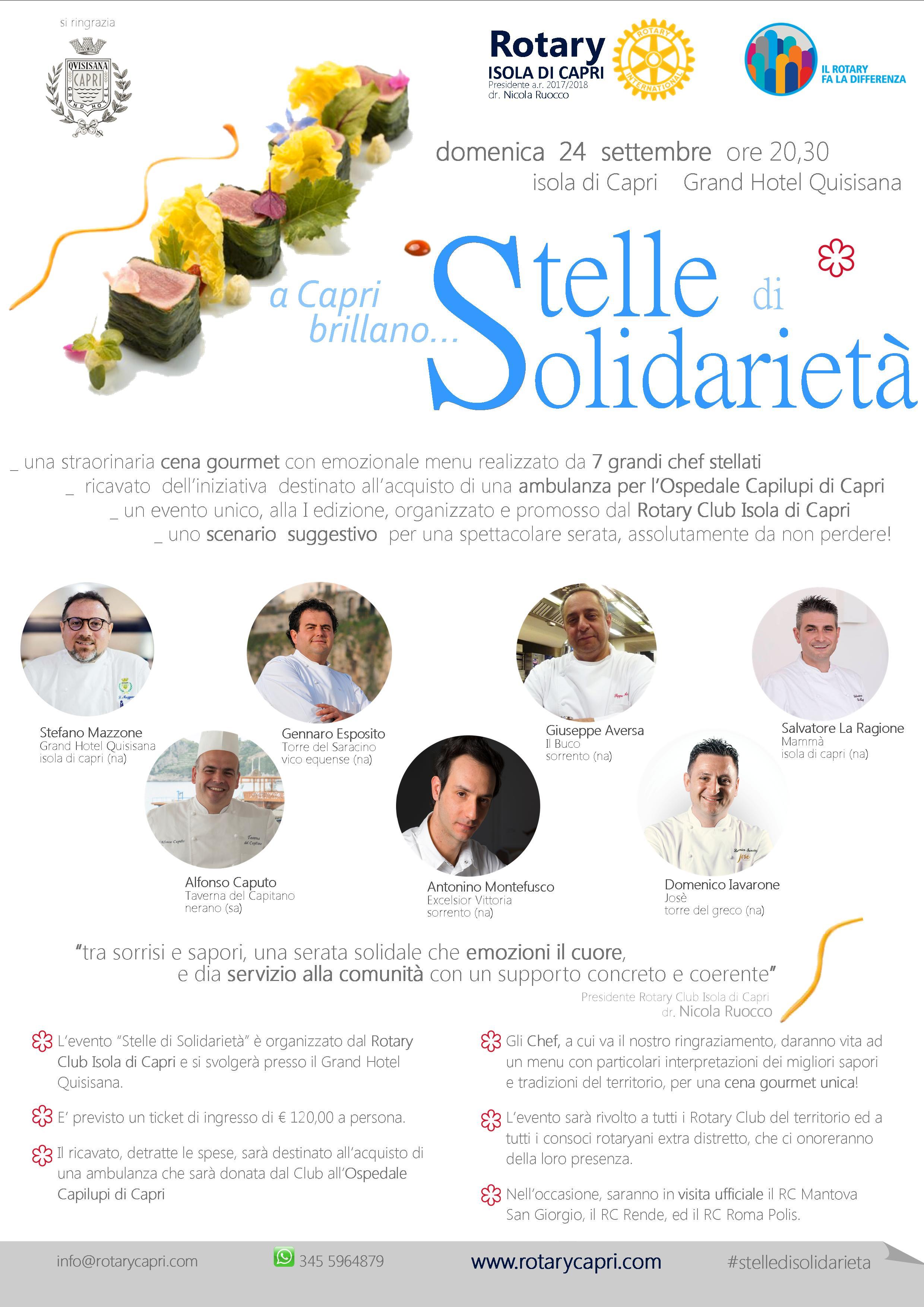 """Capri: """"Stelle di Solidarietà"""" grande evento in favore dell'Ospedale Capilupi, organizzato dal Rotary Club Isola di Capri"""