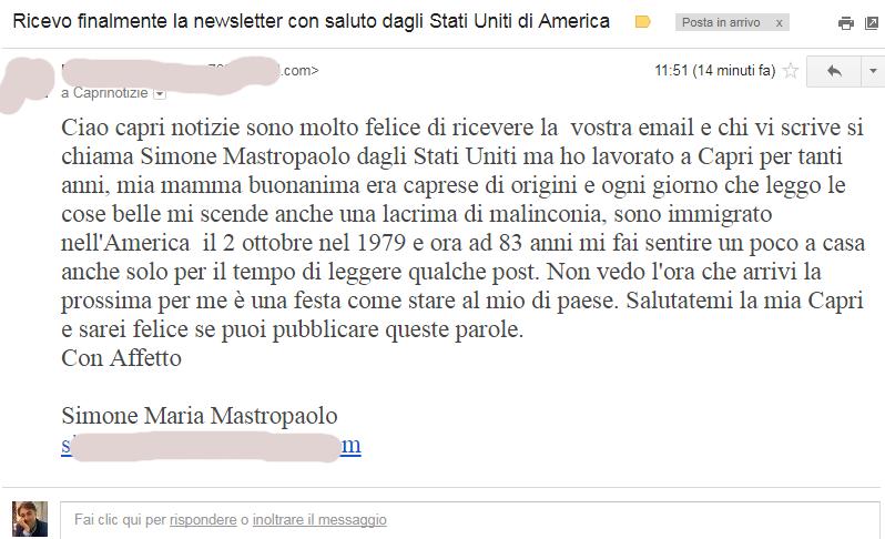 Capresi nel Mondo: L'email di Simone Mastropaolo da 60 anni negli Stati Uniti ma con Capri nel Cuore