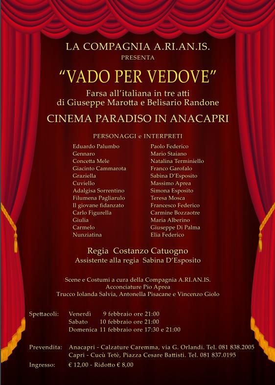 """Teatro a Capri: In scena """"Vado per Vedove"""" farsa in tre atti della Compagnia A.RI.AN.IS"""