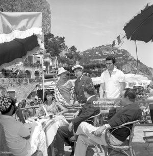 """Capri 1958:  Nino Taranto, Yvonne Monlaur e Maurizio Arena sul set di """"Avventura a Capri"""""""