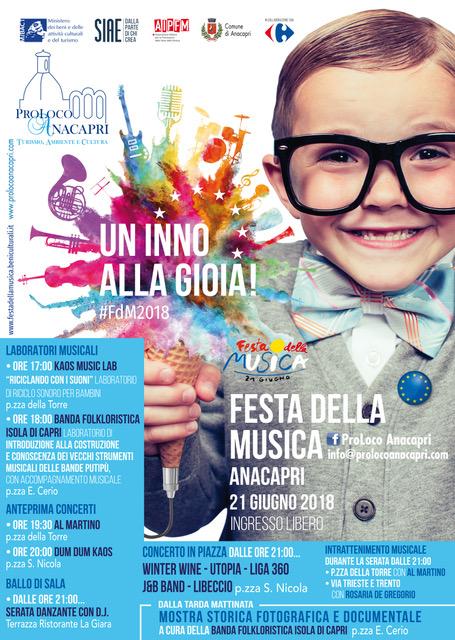 Capri.  Tutto pronto per la Festa della Musica che si  svolgerà il 21 giugno ad Anacapri