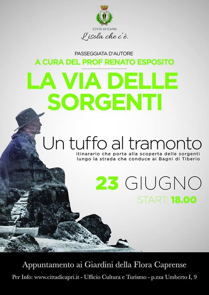"""Capri. """"La Via delle Sorgenti"""" ritornano le passeggiate curate dal Prof. Renato Esposito"""