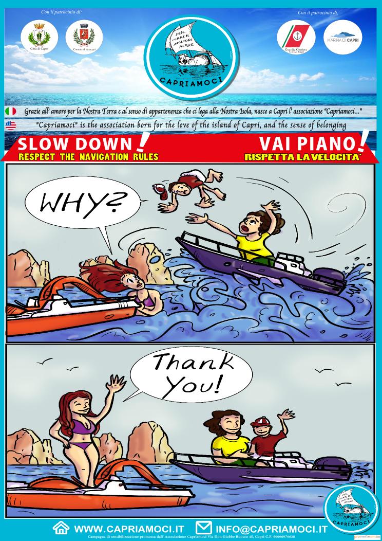"""Capriamoci lancia la campagna """"Fumetto"""" per sensibilizzare alla riduzione della velocità nel mare di Capri"""