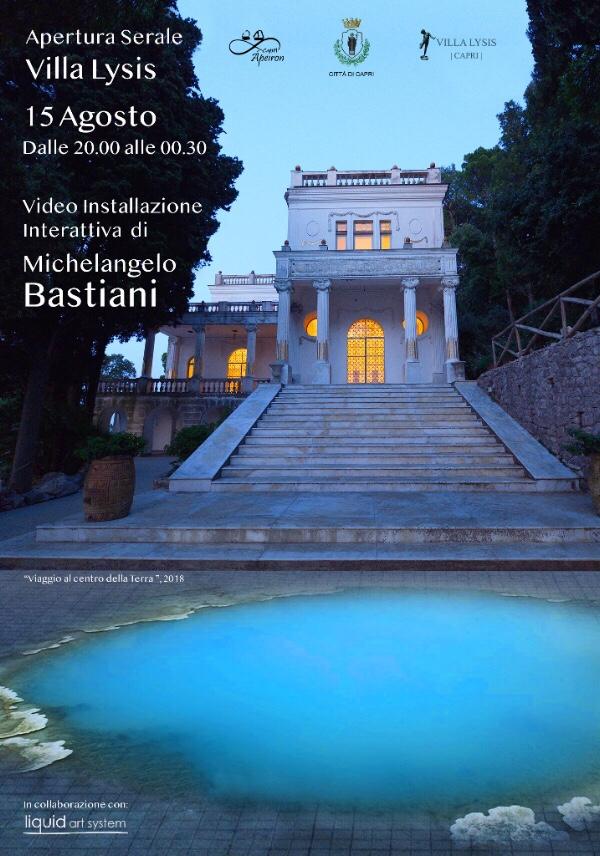 Capri. Apertura serale di Villa Lysis per la sera di Ferragosto con l' installazione di  Michelangelo Bastiani