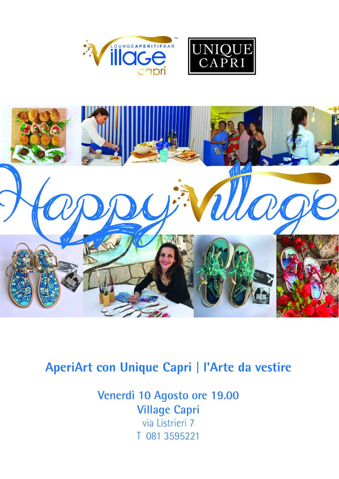 Capri. Aperitivo ed Arte da Happy Village con le creazioni di Unique Capri