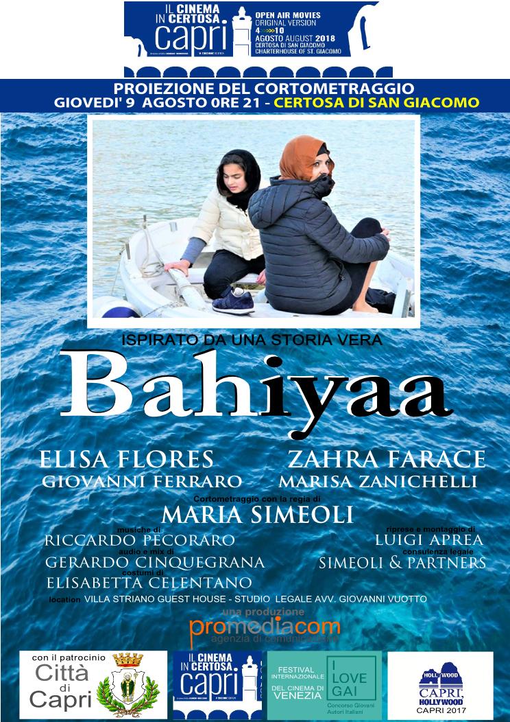 """Capri.  """"Il Cinema in Certosa"""" la proiezione del corto Made in Capri """"Bahiyaa"""" il dramma di chi scappa dalla Guerra"""