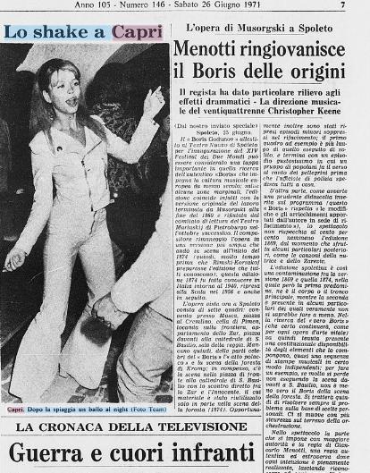 """""""Lo Shake a Capri""""  LA FOTONOTIZIA DEL 1971"""