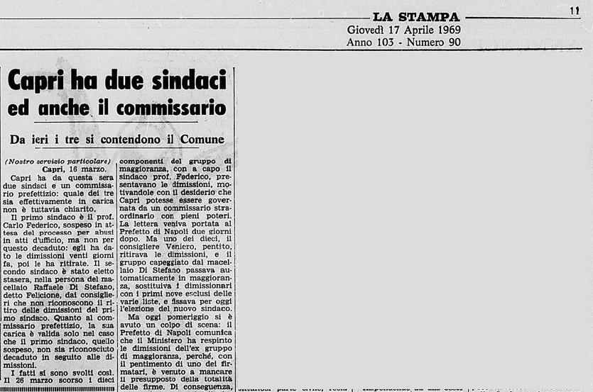 """Capri Story:  """"Capri ha due sindaci e anche il Commissario"""" da La Stampa del 17 Aprile 1969"""