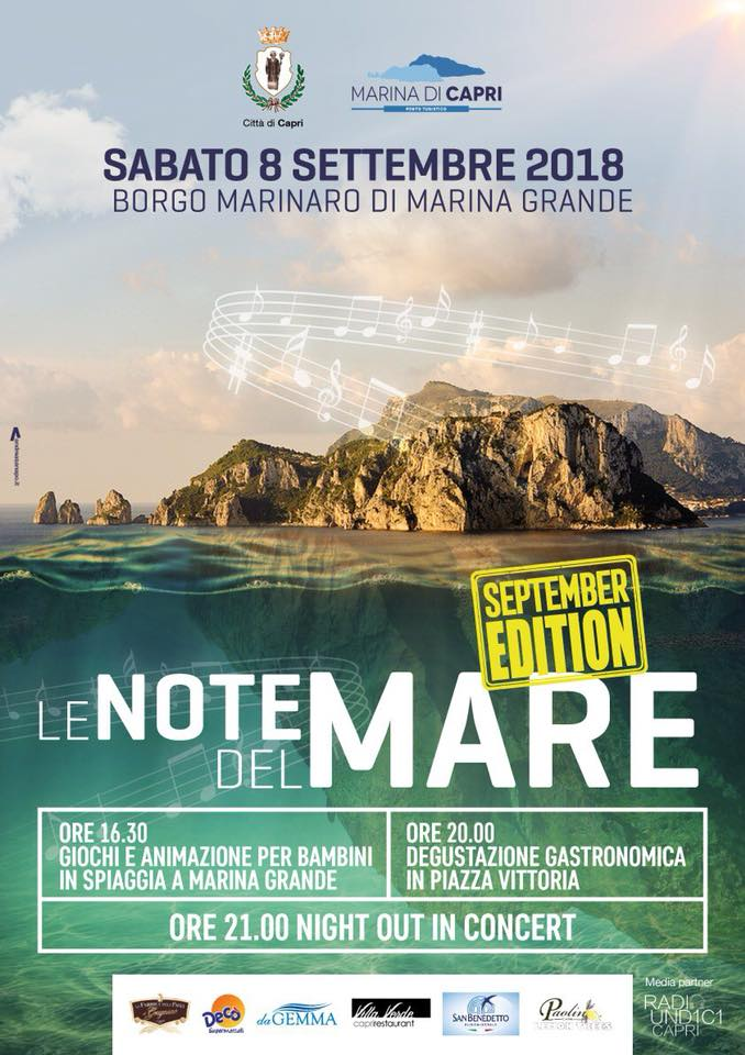 "Capri. Tutto pronto per ""Le Note del Mare – September Edition"" (IL PROGRAMMA )"