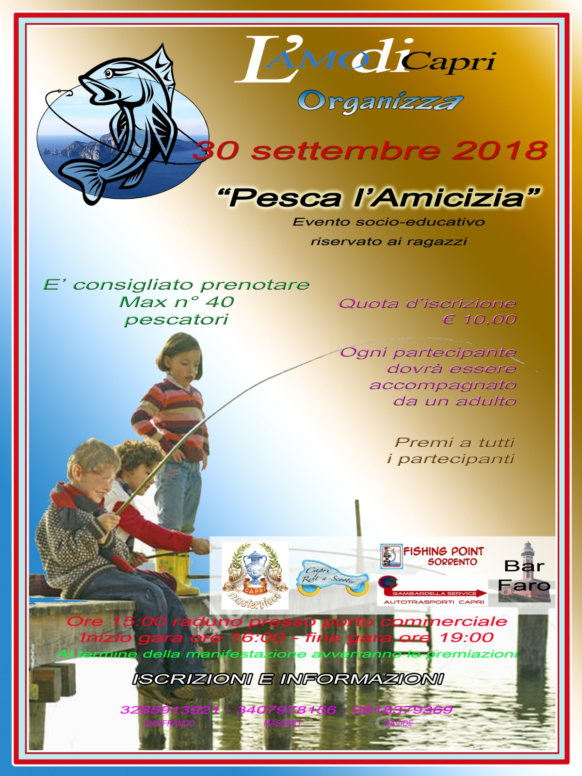 """Capri. """"Pesca l'Amicizia"""" evento socio-educativo per i ragazzi organizzato dall'Amo di Capri"""