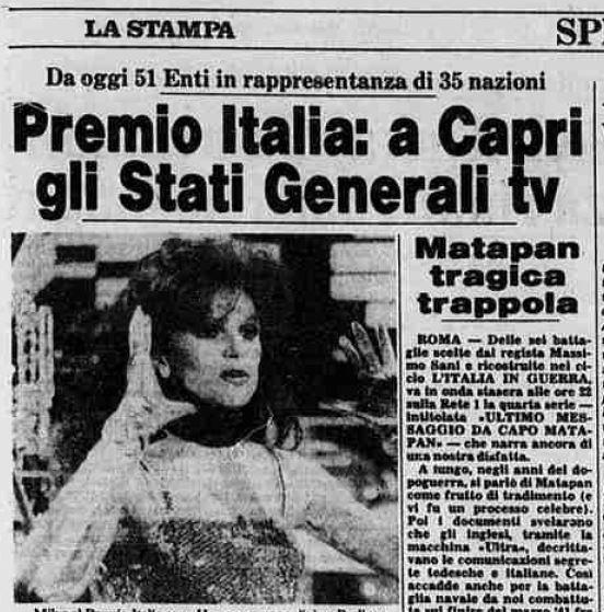 """Capri Story  Il Premio Italia della Tv ( PRIX) raccontato da """" La Stampa"""" del 20 Settembre 1983"""