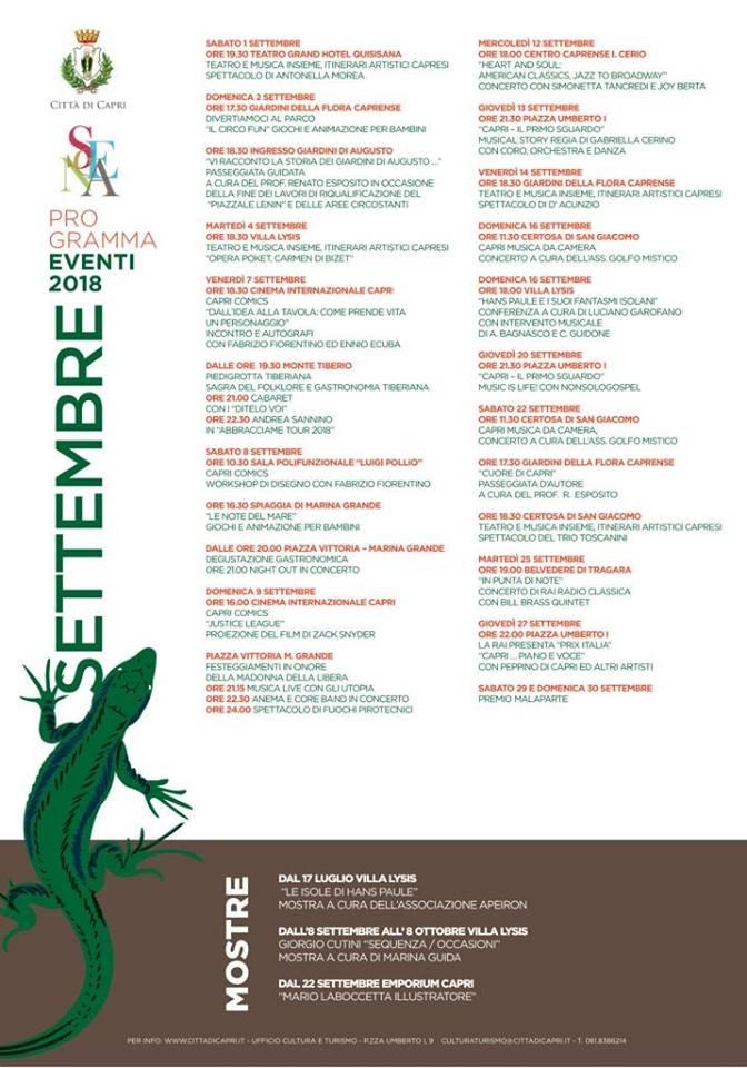 Capri. Settembre ricco di Appuntamenti, Il cartellone degli eventi della Città di Capri