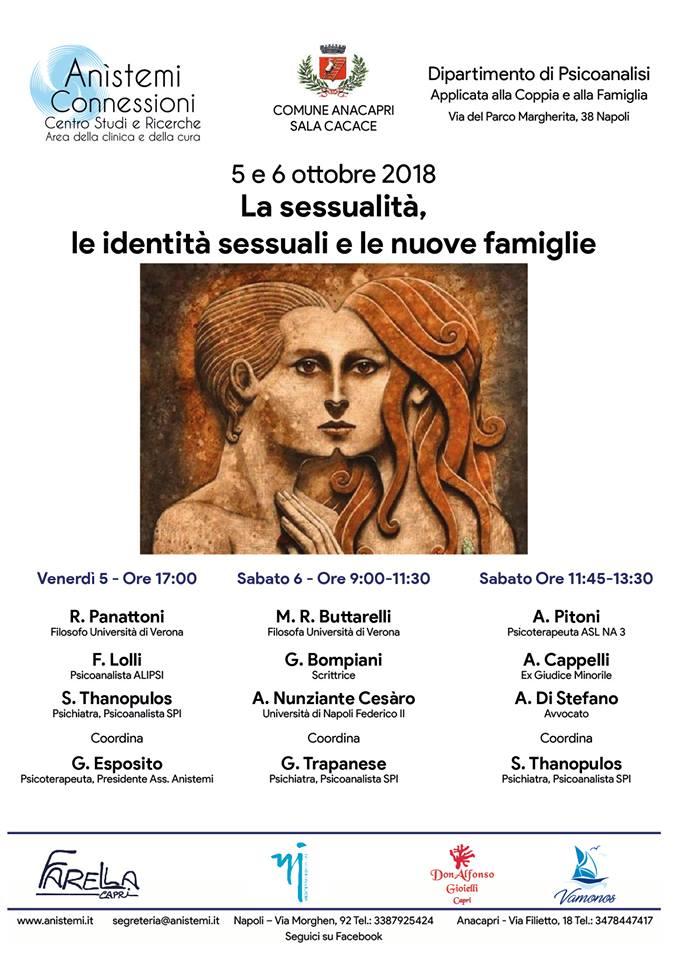 """Capri. """"La sessualità, le identità sessuali e le nuove famiglie"""" ad Anacapri il Convegno il 5 e 6 Ottobre"""