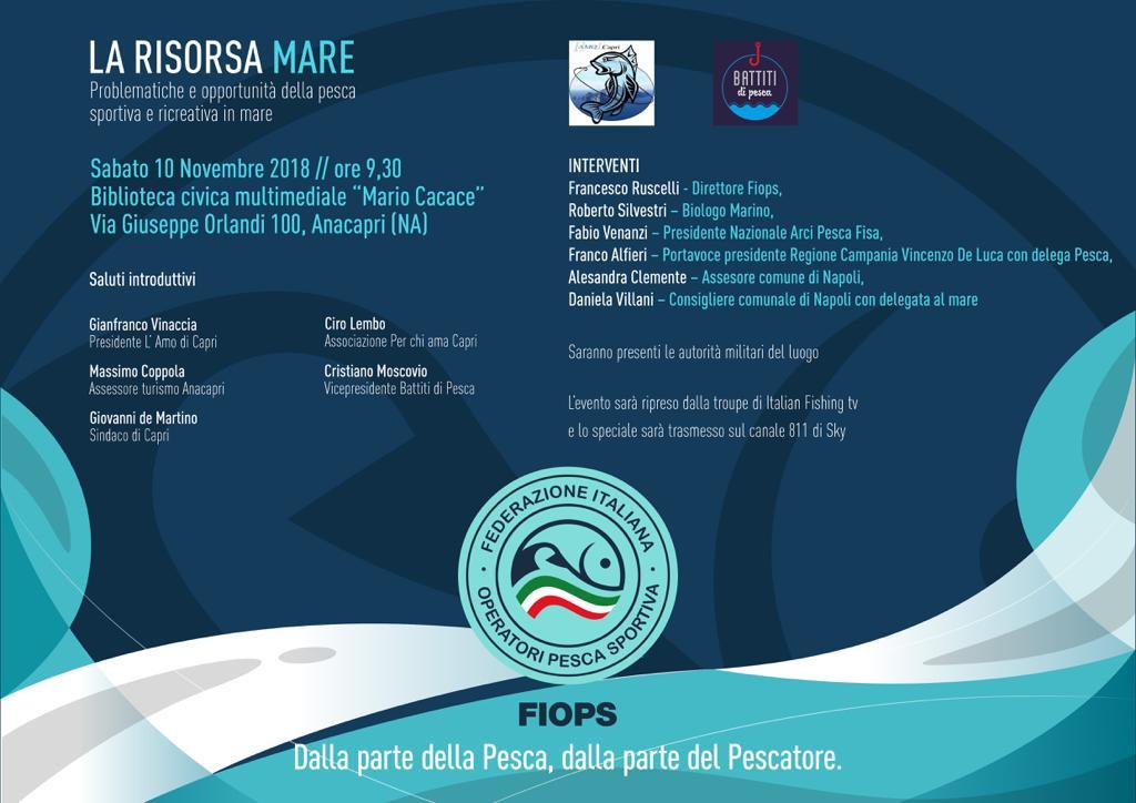 """Capri. Tutto pronto per il primo convengo sulla pesca """"Problematiche della pesca ricreativa in mare ed opportunità di marketing per il territorio""""."""