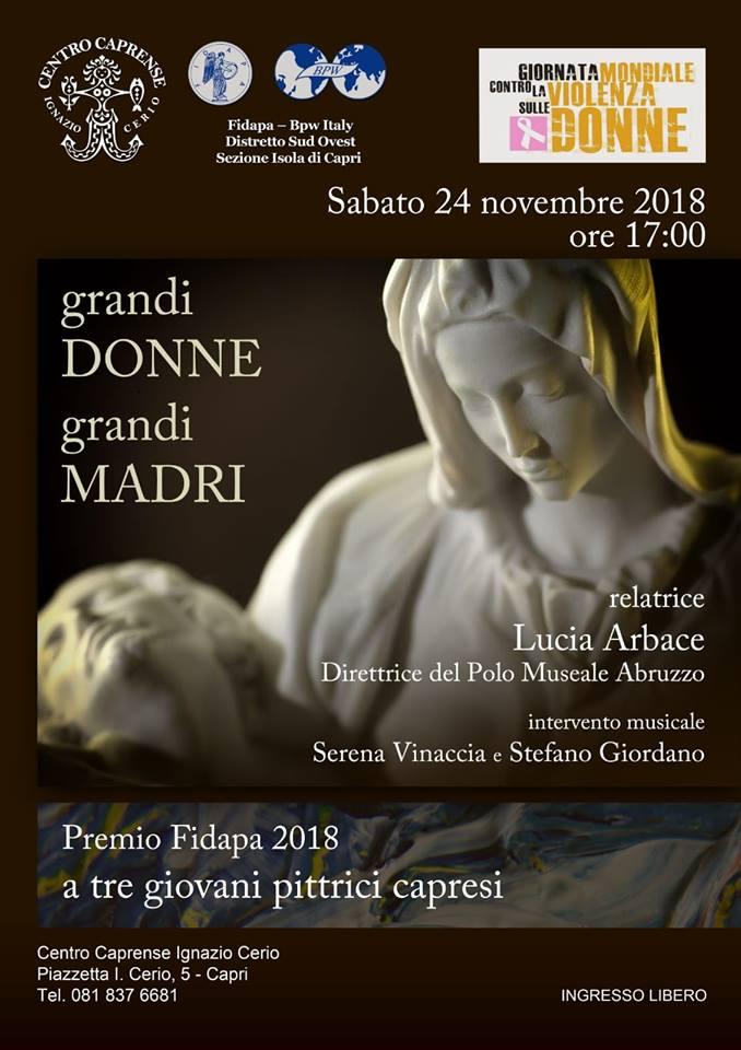 """Capri. """"Grandi Donne Grandi Madri"""" gli appuntamenti con la FIDAPA di Capri nella giornata contro la Violenza sulle Donne"""