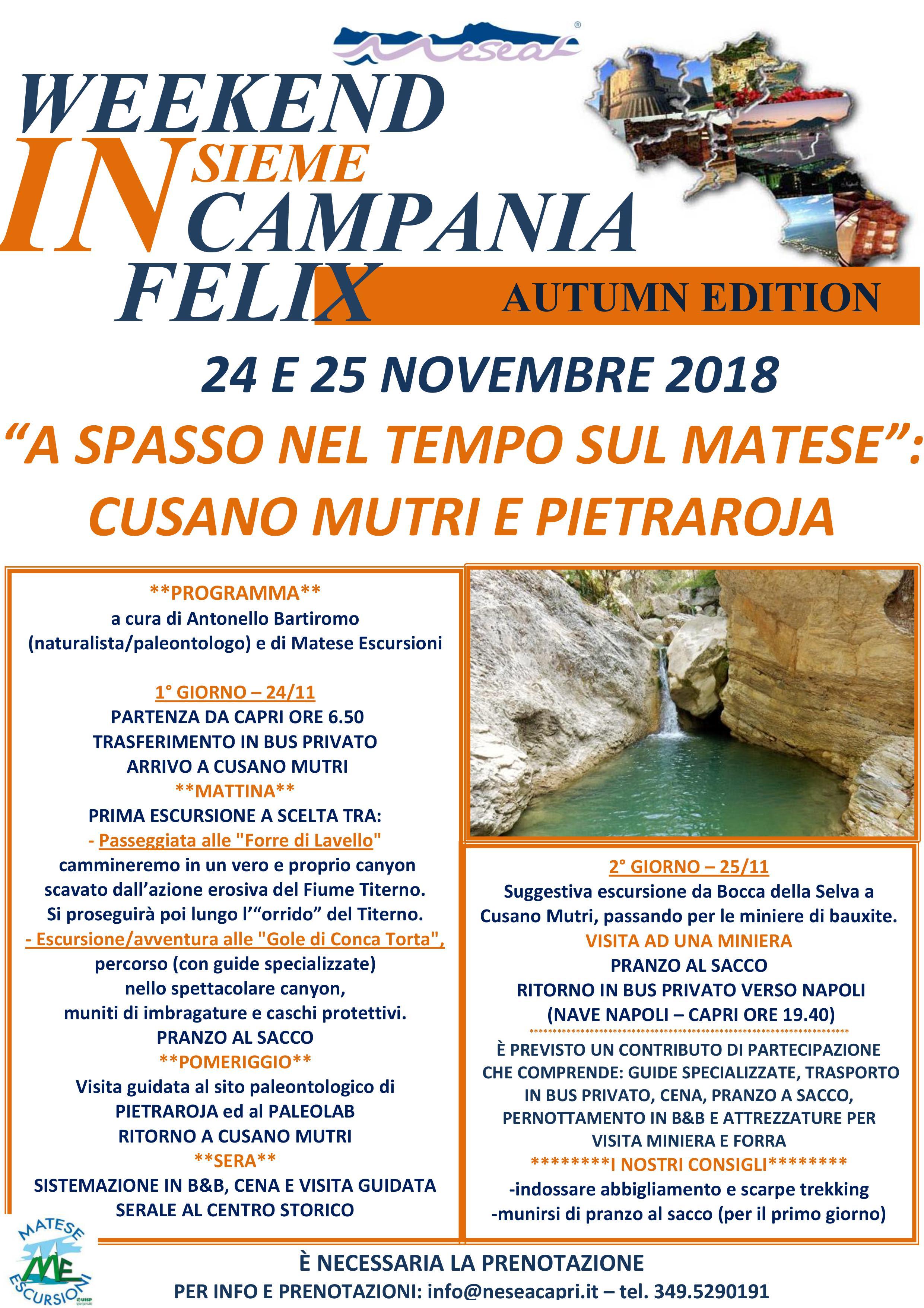 Weekend insieme in Campania Felix con Nesea, gli appuntamenti di fine Novembre