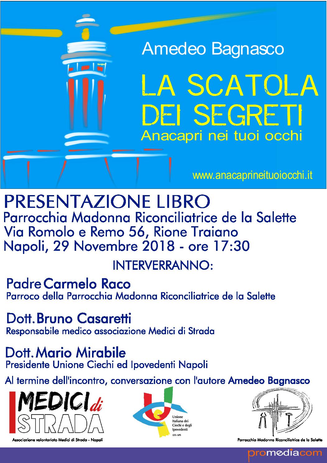"""Da Capri al Rione Traiano di Napoli """"La Scatola dei Segreti"""" di Amedeo Bagnasco, il volume che sostiene l'Unione Italiana dei Ciechi e degli Ipovedenti."""