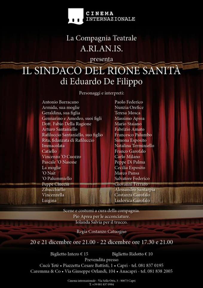 """Capri. Tutti al Teatro con """"Il Sindaco del Rione Sanità con la compagnia A.ri.an.is"""