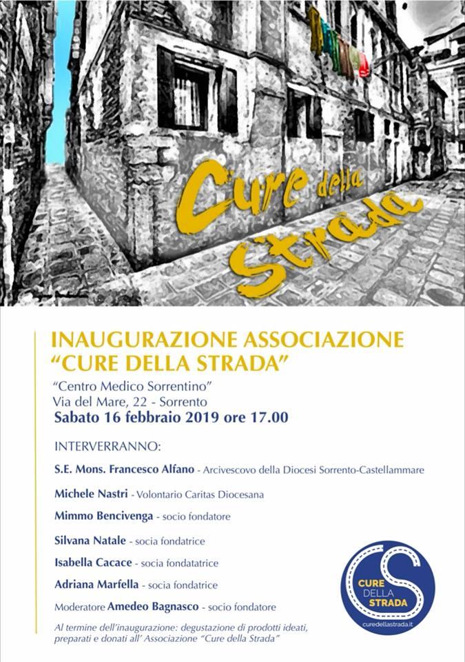 """Sorrento. Inaugurazione Associazione """"Cure della Strada"""""""